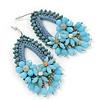 Light Blue Crystal Bead Floral Oval Hoop Earrings (Silver Tone) - 80mm L