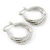 Small Crystal Twisted Hoop Earrings In Rhodium Plating - 23mm D