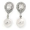 Bridal Wedding Prom Glass Pearl, Crystal Teardrop Earrings In Rhodium Plating - 30mm L