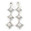 Bridal/ Prom Luxury Clear Swarovski Elements Crystal, Glass Pearl Drop Earrings In Rhodium Plating - 75mm L