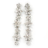 Bridal/ Prom Luxury Clear Crystal Floral Drop Earrings In Rhodium Plating - 90mm L