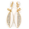 White Acrylic, Clear Crystal Leaf Clip On Earrings In Gold Plating - 45mm L