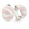 C Shape Light Pink/ Whtie Enamel Clip On Earrings In Silver Tone - 20mm L