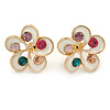 White Enamel Multicoloured Crystal Flower Stud Earrings In Gold Plating - 18mm D