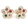 White Enamel Multicoloured Crystal Flower Stud Earrings In Gold Plating - 18mm D