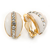 C Shape White Acrylic with Clear Crystal Clip On Earrings In Gold Plating - 20mm L
