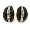C Shape Black Acrylic with Clear Crystal Clip On Earrings In Gold Plating - 20mm L