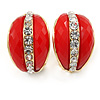 C Shape Red Acrylic with Clear Crystal Clip On Earrings In Gold Plating - 20mm L