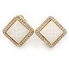Square Crystal with White Acrylic Stone Clip On Earrings In Gold Plating - 23mm L