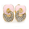 Gold Plated, Light Pink Enamel, Clear Crystal Infinity Clip On Earrings - 20mm L