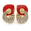 Gold Plated, Red Enamel, Clear Crystal Infinity Clip On Earrings - 20mm L