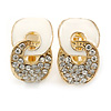 Gold Plated, White Enamel, Clear Crystal Infinity Clip On Earrings - 20mm L