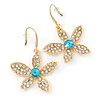 Clear/ Light Blue Crystal Flower Drop Earrings In Gold Plating - 43mm L