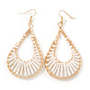 Teardrop Wired Earrings with White Glass Beads In Gold Plating - 80mm L