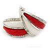 C Shape Red/ White Acrylic, Clear Crystal Stud Earrings In Silver Tone - 20mm