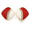 Red/ White Enamel Crystal Square Clip On Earrings In Gold Plating - 20mm
