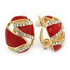 Oval Red Enamel, Clear Crystal Clip On Earrings In Gold Plating - 20mm L