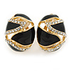 Oval Black Enamel, Clear Crystal Clip On Earrings In Gold Plating - 20mm L