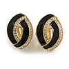 Black Enamel Clear Crystal Oval Clip On Earrings In Gold Plaiting - 23mm L