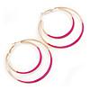 60mm Fuchsia Enamel Double Hoop Earrings In Gold Tone