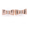 Gold Plated Crystal Bow Stud Earrings - 20mm W