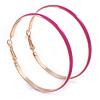 60mm Large Fuchsia Enamel Hoop Earrings In Gold Tone