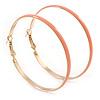 60mm Large Light Pink Enamel Hoop Earrings In Gold Tone