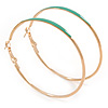 60mm Large Slim Teal Green Enamel Hoop Earrings In Gold Tone