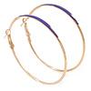 60mm Large Slim Purple Enamel Hoop Earrings In Gold Tone