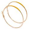 60mm Large Slim Yellow Enamel Hoop Earrings In Gold Tone
