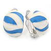 C Shape White/ Light Blue Enamel Clip On Earrings In Silver Tone - 20mm L