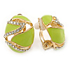 Oval Lime Green Enamel, Clear Crystal Clip On Earrings In Gold Plating - 20mm L