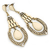Vintage Inspired Cream Acrylic Bead Chandelier Earrings In Antique Gold Tone Metal - 80mm L