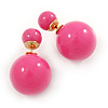 Hot Pink Acrylic 4-13mm Double Ball Stud Earrings In Gold Tone Metal