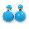 Light Blue Acrylic 4-13mm Double Ball Stud Earrings In Gold Tone Metal
