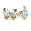 Gold Plated, Crystal with Light Blue Flowers Stud Butterfly Earrings - 20mm W