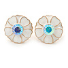 White Enamel Crystal Daisy Stud Earrings In Gold Tone - 15mm D