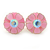 Pink Enamel Crystal Daisy Stud Earrings In Gold Tone - 15mm D