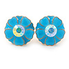 Light Blue Enamel Crystal Daisy Stud Earrings In Gold Tone - 15mm D