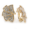 Gold Plated Clear Austrian Crystal Geometric Clip On Earrings - 20mm L