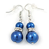 Purple Blue Glass Pearl, Crystal Drop Earrings In Rhodium Plating - 40mm L