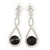 Bridal/ Prom/ Wedding Black/ Clear Austrian Crystal Infinity Drop Earrings In Rhodium Plating - 50mm L