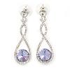 Bridal/ Prom/ Wedding Amethyst/ Clear Austrian Crystal Infinity Drop Earrings In Rhodium Plating - 50mm L