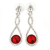 Bridal/ Prom/ Wedding Red/ Clear Austrian Crystal Infinity Drop Earrings In Rhodium Plating - 50mm L