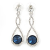 Bridal/ Prom/ Wedding Montana Blue/ Clear Austrian Crystal Infinity Drop Earrings In Rhodium Plating - 50mm L