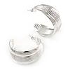 Medium Ribbed Silver Plated Half Hoop/ Creole Earrings - 35mm L
