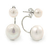 5mm/ 10mm Silver Plated Double Pearl Half Circle Stud Earrings - 23mm L