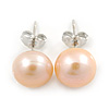 Cream Coloured Freshwater Pearl Stud Earrings In Silver Tone - 10mm L