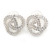 Bridal Clear Crystal Trinity Stud Earrings In Silver Tone - 22mm D
