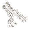 Long Clear Crystal Dangle Earrings In Silver Tone - 90mm L